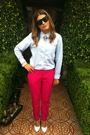 hot pink Zara pants - white go jane shoes - sky blue Forever 21 shirt