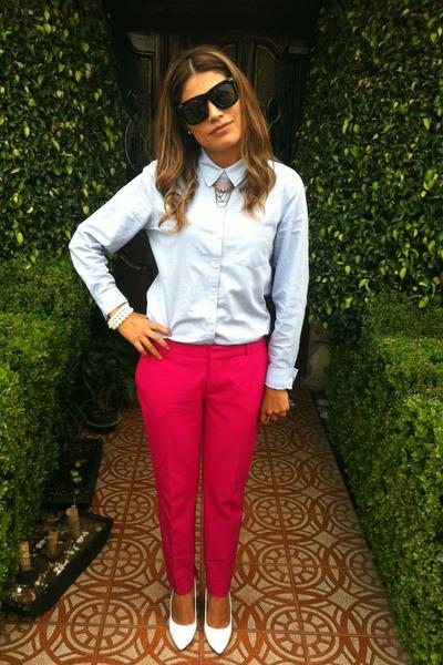 Hot Pink Zara Pants White Go Jane Shoes Sky Blue Forever 21 Shirt