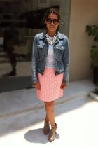 hot pink neon print Gap skirt - Nine West shoes - denim Bershka jacket