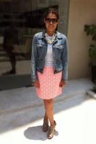 hot pink neon print Gap skirt - Nine West shoes - denim Bershka jacket