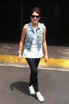 black Mango leggings - denim Bershka vest - white Converse sneakers