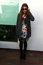 black ankle Bershka boots - black H&M dress - gray Gap cardigan