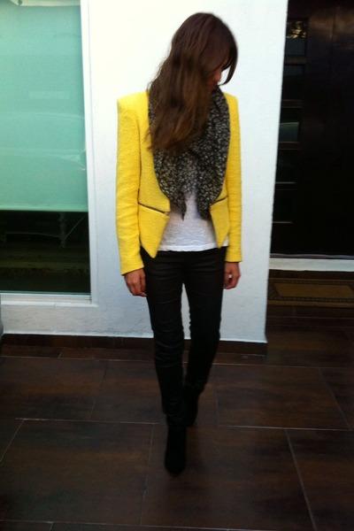 Zara jacket - black ankle Bershka boots - black faux leather Zara jeans
