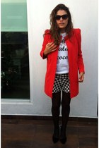 carrot orange Zara coat - white oh lala coco t-shirt - black Zara stockings