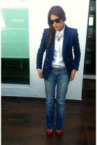 blue Zara blazer - Zara jeans - red Zara heels