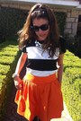 Black-zara-boots-orange-zara-skirt-black-asos-blouse