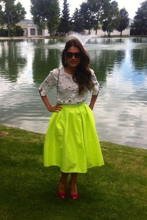 white crochet top - yellow neon midi Choies skirt - hot pink sam edelman pumps