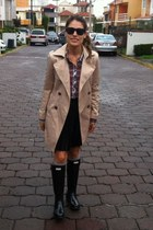 beige trench coat - black rain boots - plaid Zara shirt