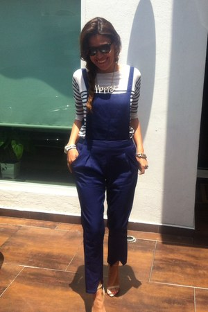 happy Accessorize necklace - blue overall bodysuit - stripes pull&bear t-shirt