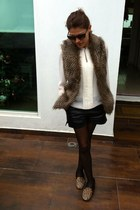 faux fur vest - black faux leather Romwecom shorts - ivory Zara blouse