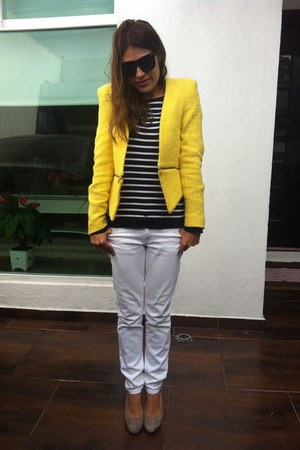 yellow Zara jacket - Mango jeans - Zara cardigan - tan banana republic pumps