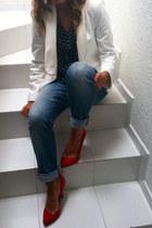 ruby red Zara jeans - ivory Zara blazer - polka dot Zara blouse - Zara heels