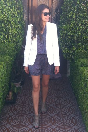 ivory Zara blazer - blue pijamas Zara romper - beige Nine West sandals