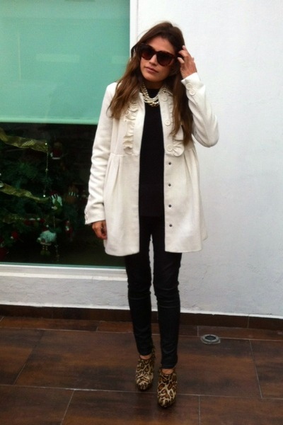 ivory Urban Outfitters coat - leopard print sam edelman boots