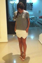 silver mens H&M t-shirt - white Sheinside shorts - H&M necklace