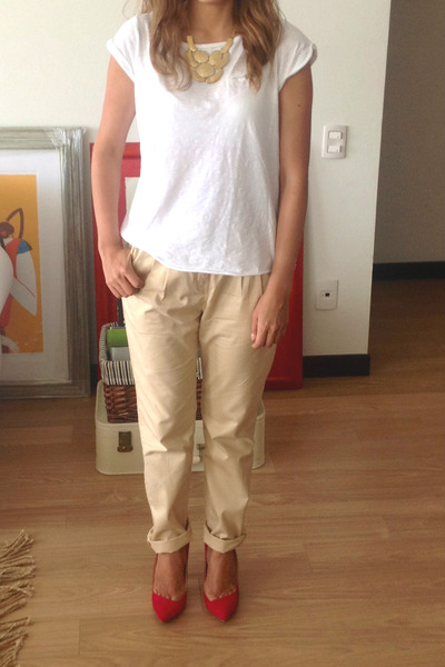 red Zara shoes - beige H&M pants - white Pull & Bear t-shirt
