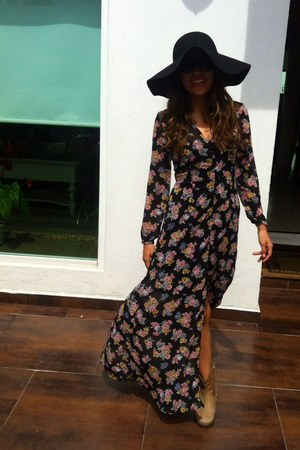 black floppy hat - tan ankle Zara boots - maxi flower dress