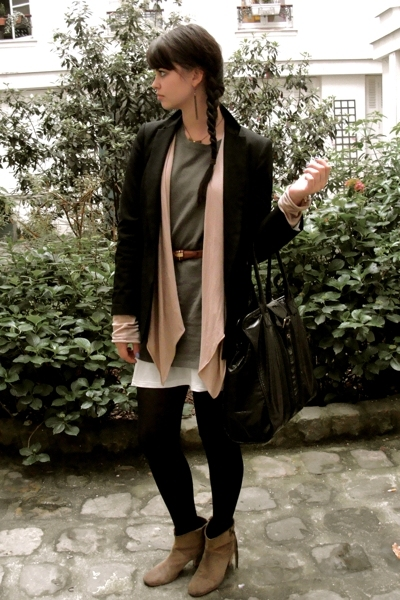 Zara blazer - diabless sweater - Swildens dress - Marc by Marc Jacobs purse - Ma