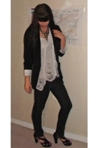 Zara blazer - DIY t-shirt - All Saints accessories - Deisel jeans - The Kooples