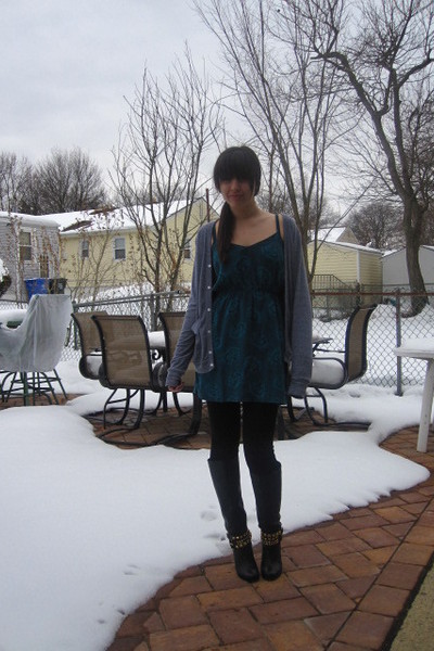black Dolce Vita boots - black Forever 21 leggings - blue Heritage 1981 dress -