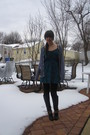Black-dolce-vita-boots-black-forever-21-leggings-blue-heritage-1981-dress-