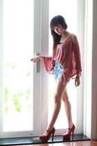 red naima heels - blue Zara shorts - pink vest