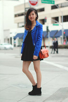 blue H&M jacket - black brandy melville dress - carrot orange Steve Madden bag