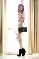 black Chanel bag - eggshell Zara top