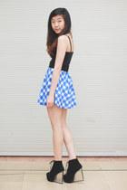 black Jeffrey Campbell boots - blue Nasty Gal skirt