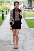 tan Zara blazer - black Zara shorts