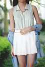 White-zara-shorts-aquamarine-zara-top-sky-blue-zara-top