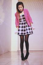 hot pink Zara blazer - heather gray Forever 21 dress