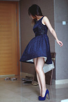 navy Zara dress - ivory Louis Vuitton bag - navy Zara heels