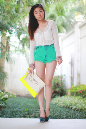 yellow Bershka bag - aquamarine Love Culture shorts - navy Aldo heels