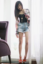 carrot orange Zara blouse - sky blue Zara shorts - black H&M intimate