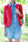 Hot-pink-zara-blazer-sky-blue-zara-shirt