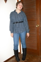 grandpas shirt - H&M jeans from Buffalo jeans - Aldo boots
