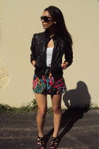 black Forever 21 jacket - white Gap shirt - pink Forever 21 shorts - black Nine