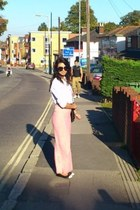 light pink maxi dress - white jeans jacket - black flats