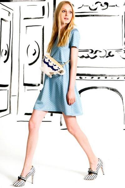 White Teacup Moschino Bag Sky Blue Dress
