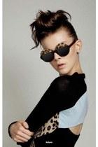brown leopard print sunglasses - black dress
