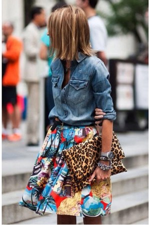 red printed skirt - sky blue jeans jacket - dark brown animal print purse