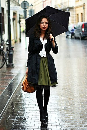 olive green skirt - green coat - white shirt - burnt orange bag