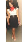 White-h-m-shirt-red-lashez-scarf-black-h-m-skirt-neutral-heels