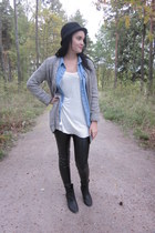 black Nellycom boots - black H&M hat - light blue jean vintage shirt - light bro