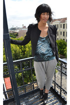 black black cropped H&M blazer - blue bird tank Helmut Lang top - heather gray j