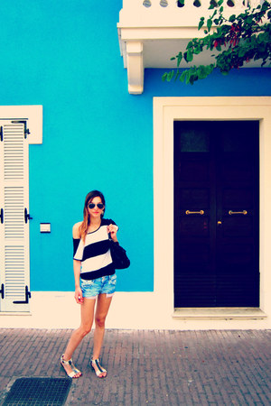 black Tally Weijl t-shirt - blue Zara shorts - Ray Ban sunglasses