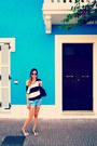 Blue-zara-shorts-ray-ban-sunglasses-black-tally-weijl-t-shirt
