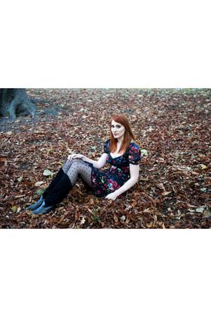 black vintage Beyond Retro boots - black karen millen dress