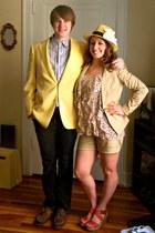 salmon merona wedges - cream fedora Forever 21 hat - camel Mossimo blazer